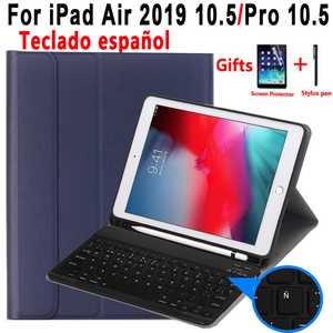 Image 1 - Spanish Keyboard Case For Apple iPad Air 2019 10.5 3 3rd Generation A2152 A2153 A2154 A2123 Pro 10.5 A1701 A1709 Pencil Holder