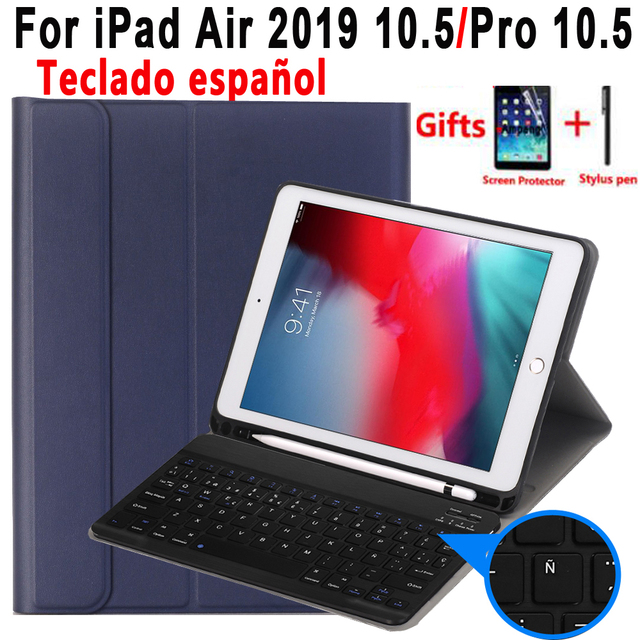 Spanish Keyboard Case For Apple iPad Air 2019 10.5 3 3rd Generation A2152 A2153 A2154 A2123 Pro 10.5 A1701 A1709 Pencil Holder