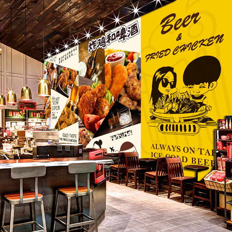 Custom 3d Mural 3D Fried Chicken Beer Fast Food Restaurant Cafe Wallpaper Cute Cartoon Dining Room Background Wall In Wallpapers From Home