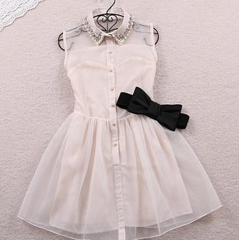 Free bow belt Spring summer 2016 new fashion sweet little pearl diamond lapel waist sleeveless dress gauze ,black,beige