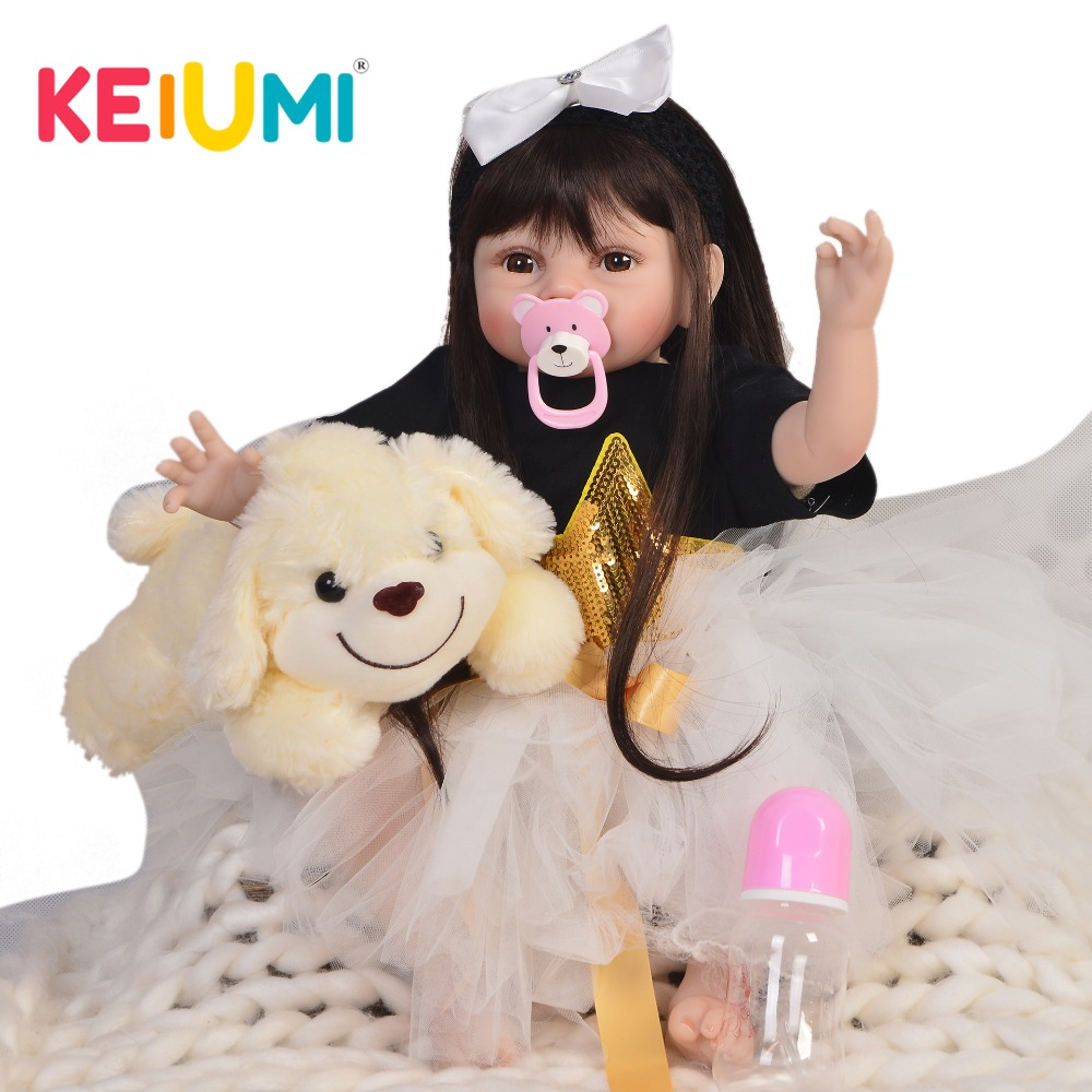 KEIUMI Soft Silicone Reborn Baby Alive Doll 22'' 55 cm Cute Reborn Doll Toy With Long Hair Toddler Christmas Birthday Gifts keiumi 22 55 cm realistic baby alive boy doll soft silicone vinyl lifelike reborn doll toy for toddler birthday xmas gifts