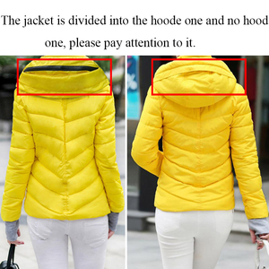 Image 5 - 2019 hooded women winter jacket short cotton padded womens coat autumn casaco feminino inverno solid color parka stand collar