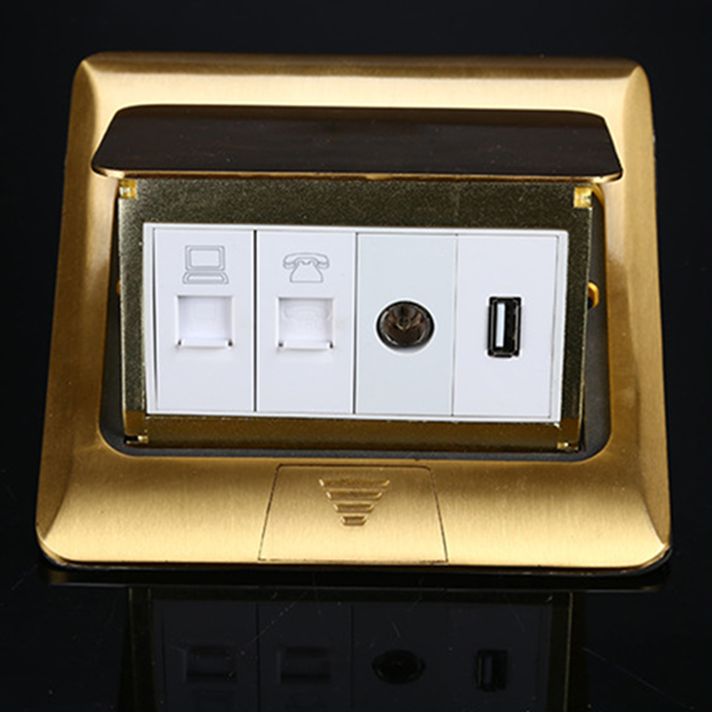 Manufacturer All Copper Panel Pop Up Floor Socket Internet + Telephone +...