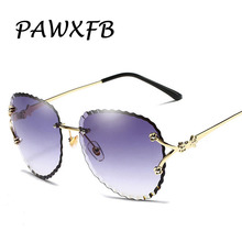 PAWXFB 2019 Rimless Sunglasses Women Brand Designer Sun Glasses Gradient Shades Cutting Lens Ladies Alloy Eyewear