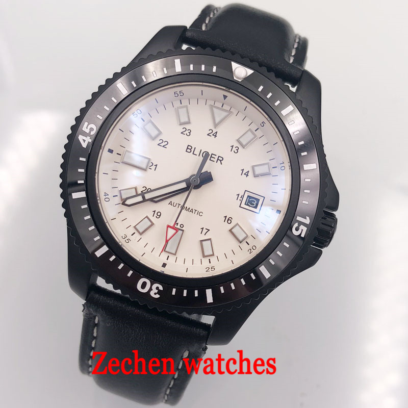 44mm bliger sterile white dial black ceramic bezel date window Automatic 316L case mens Watch цена и фото