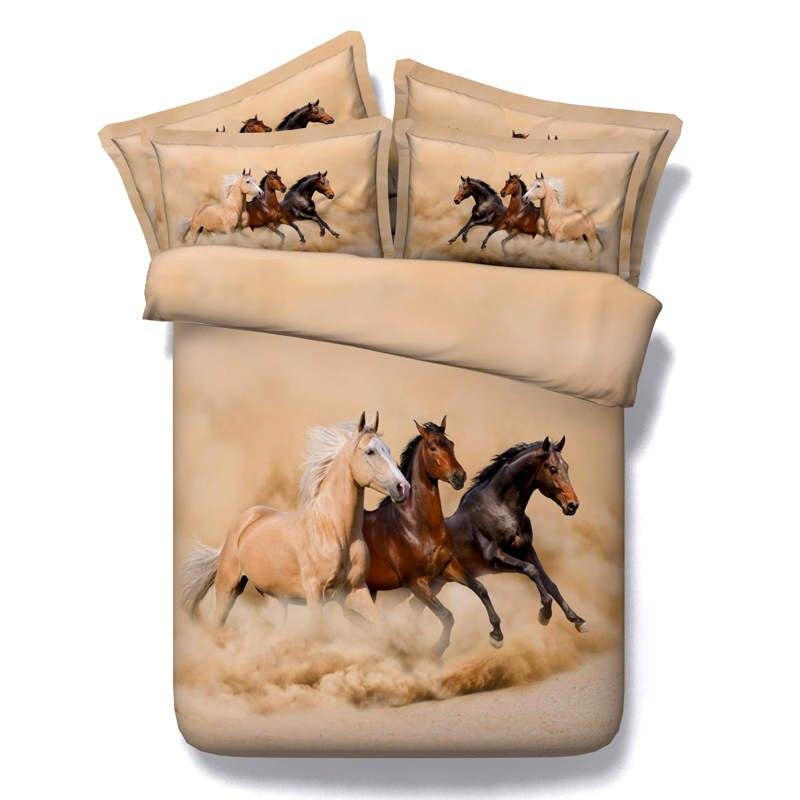 Bedding Sets Bedding 3d Running Horse Quilt/duvet Cover Animals Print Bedding Set 3/4pcs Bedspreads Twin Queen Full King Sizes Boys Bedlinens 500tc