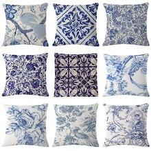 Funda de cojín con flores azul Vintage funda de almohada China funda de cojín para chica pájaro para el hogar Decoración de coche funda de almohada