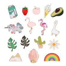 Hoomall Kawaii Metal Enemal Pins Badges Cartoon Flamingo Brooches Icons Backpack Decoration Badges For Clothes DIY(China)