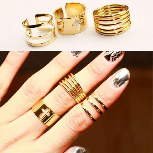 3 Pcs Punk Gold Finger Ring set Half Open Cross Lord of the rings