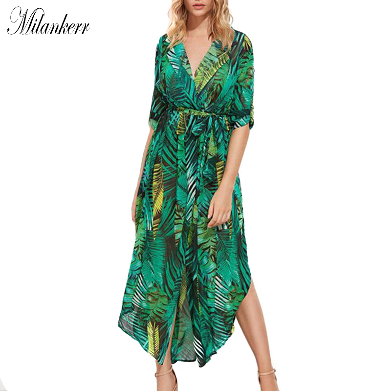 2018 New Irregular Chiffon Beach Cover Up Dress for Women Split Sexy Slim Beach Dress Leaves Print V-neck Beachwear Cover-Ups sweet 3 4 sleeves v neck fish print dress for women