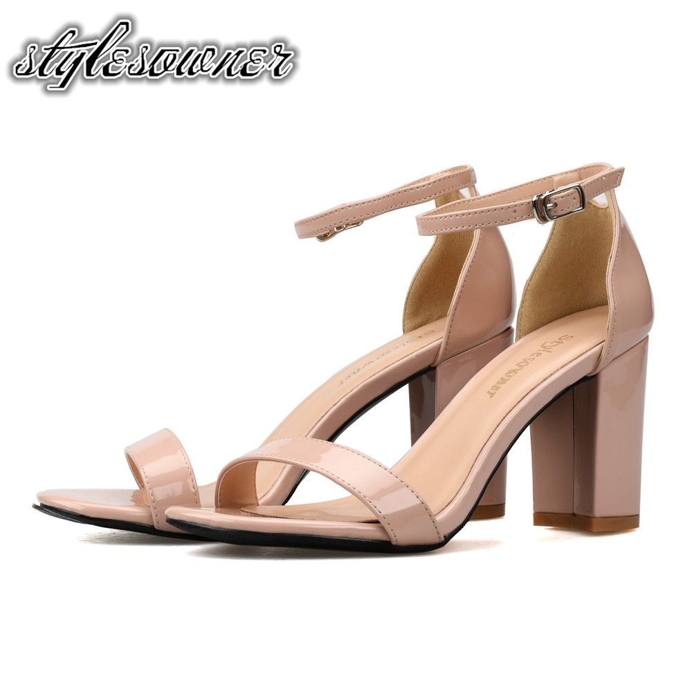 Stylesowner New Arrival Nude Black Color Thick Heels Woman Casual Sandals High Heels Patent Leather Square Heel Woman Sandals by Stylesowner