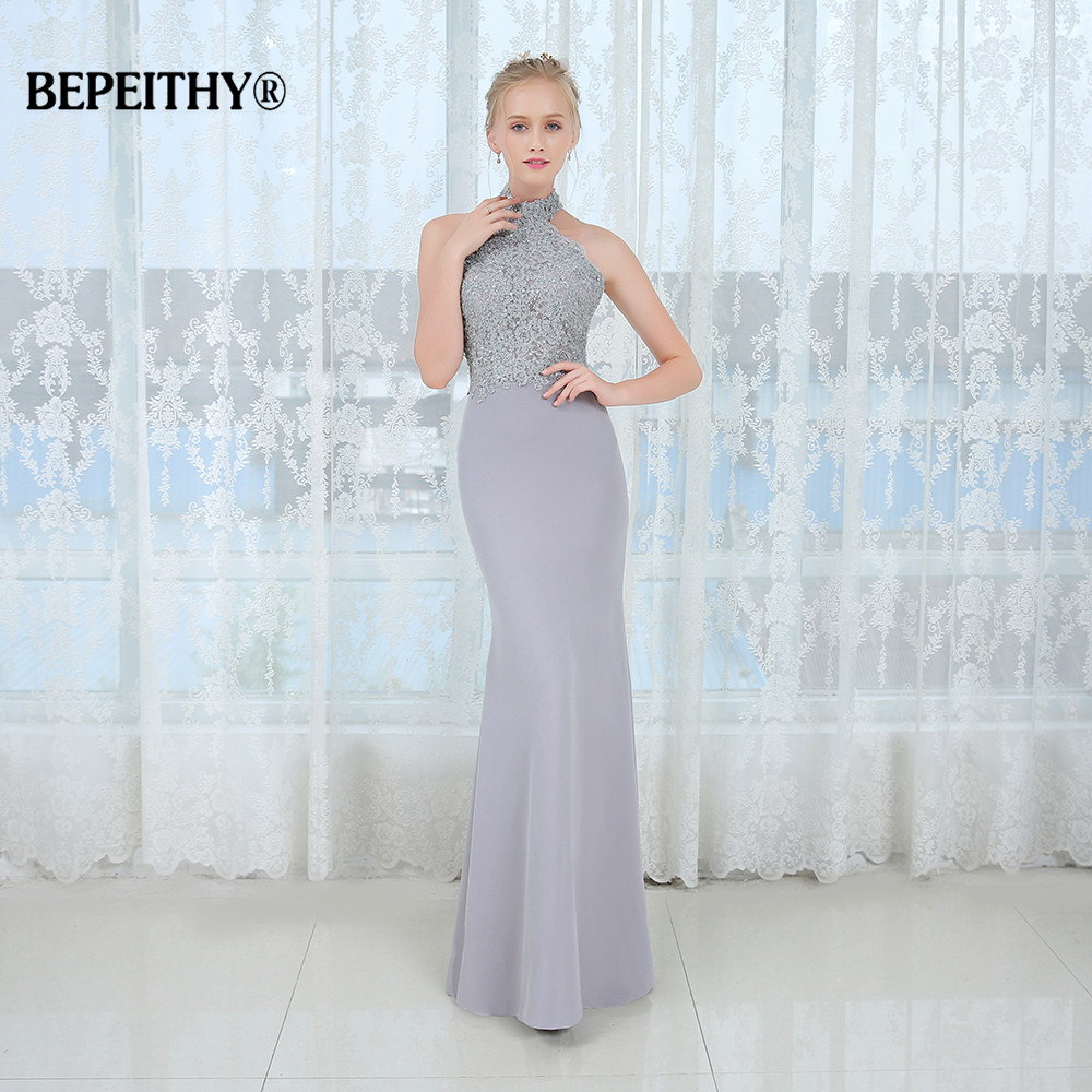 Vestido De Festa Mermaid Long Bridesmaid Dresses Halter Lace Vintage Casamento Wedding Party Dress 2020 Robe De Soiree