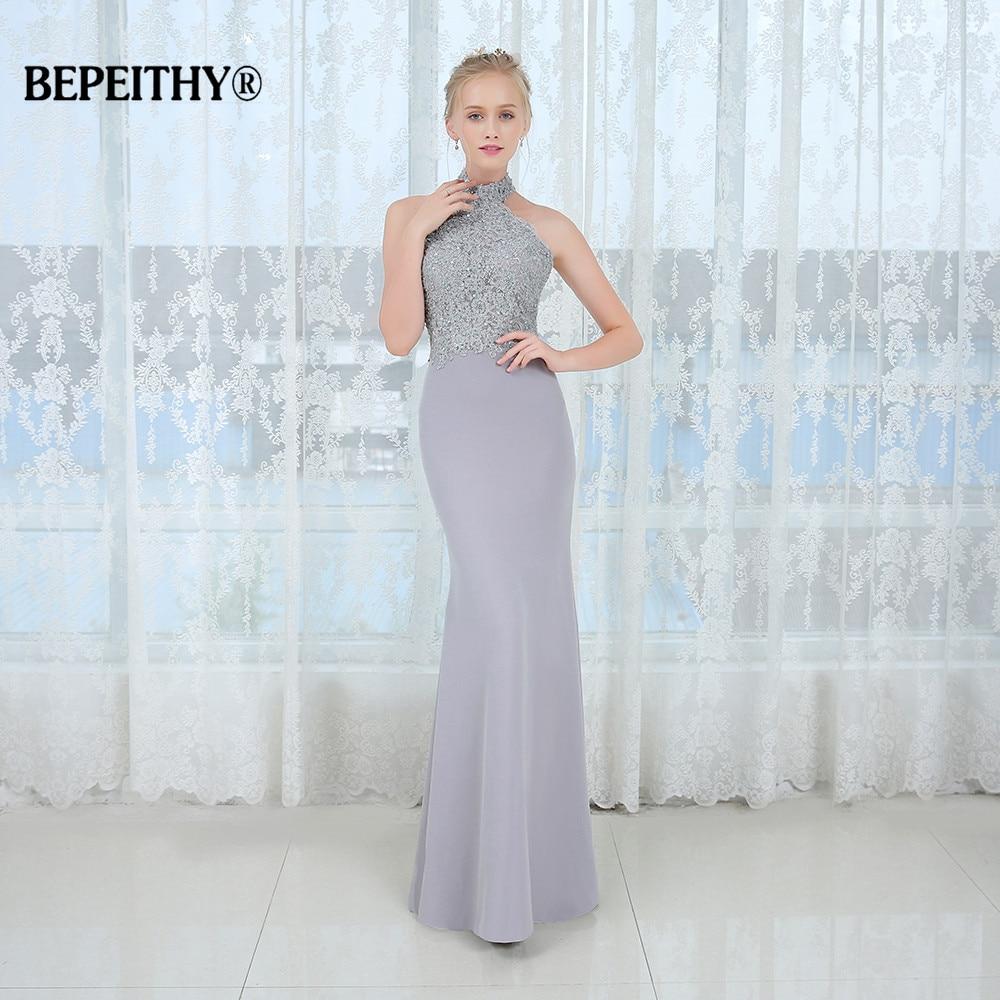Vestido De Festa Mermaid Long   Bridesmaid     Dresses   Halter Lace Vintage Casamento Wedding Party   Dress   2019 Robe De Soiree