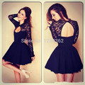 2016 Custom Made High Neck Little Black Lace Mini Cocktail Dresses Prom Dresses, Long Sleeves Short Sexy Evening Gowns