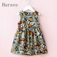 Hurave 2017 여름 유아 프릴 드레스 소녀 인쇄 의류 민소매