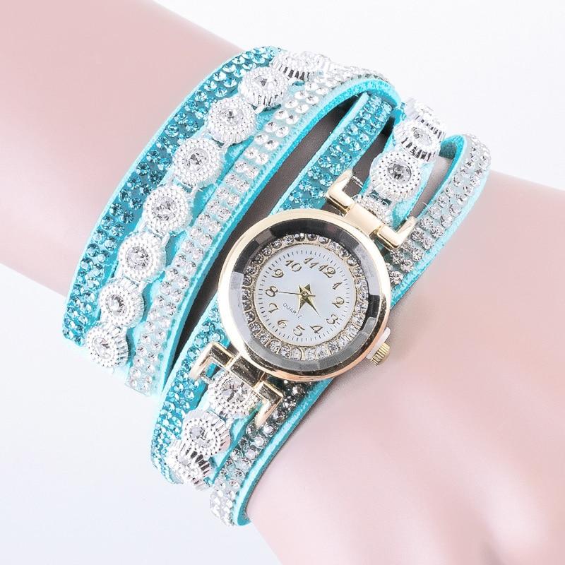LIght Blue Women Stainless Steel Bling Rhinestone Wrist ...