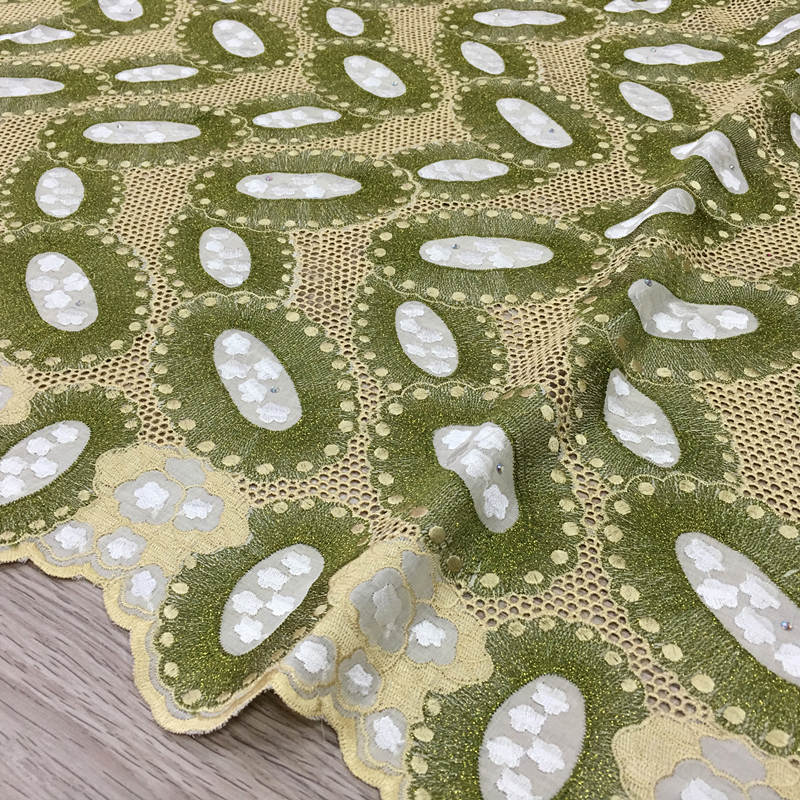High Quality Swiss Voile Lace army green olive 2019 latest African Lace Cotton lace Fabric for