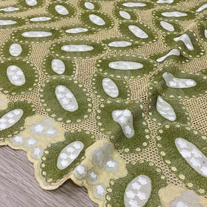 Image 1 - High Quality Swiss Voile Lace army green olive 2019 latest African Lace Cotton lace Fabric for wedding dress 5yards 062