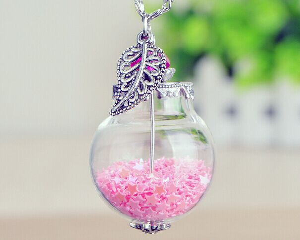 Image of: Whatsapp Status 2015 New Cute Candy Colors Korean Womens Crystal Love Heart Drift Bottle Pendant Tiny Star Antique Leaf Glass Bead Necklaces Aliexpresscom 2015 New Cute Candy Colors Korean Womens Crystal Love Heart Drift