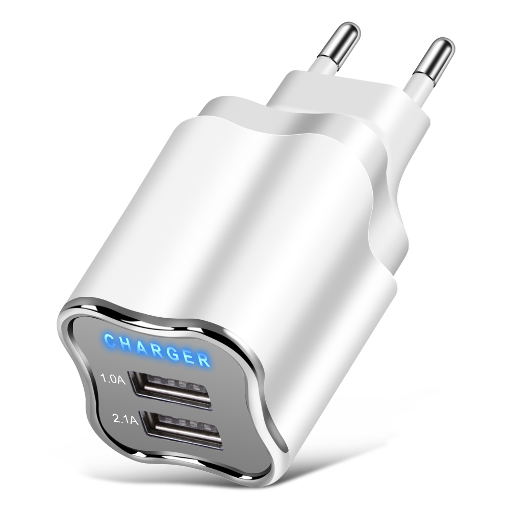 2 Port USB Charger 5V 2.1A Wall Adapter Mobile Phone Charger For Samsung S8 Xiaomi Tablet EU/US Plug Portable USB Phone Charging