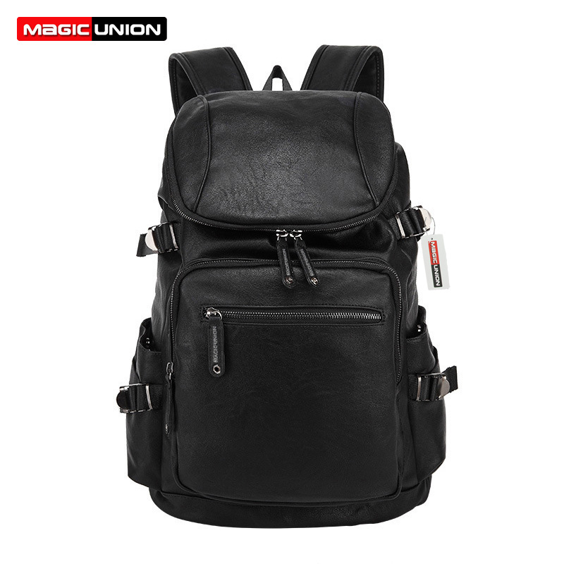 цены MAGIC UNION New Leather Backpack Men's Casual Travel Bags Oil Wax Leather Laptop Bags College Style Backpacks Mochila Zip Men