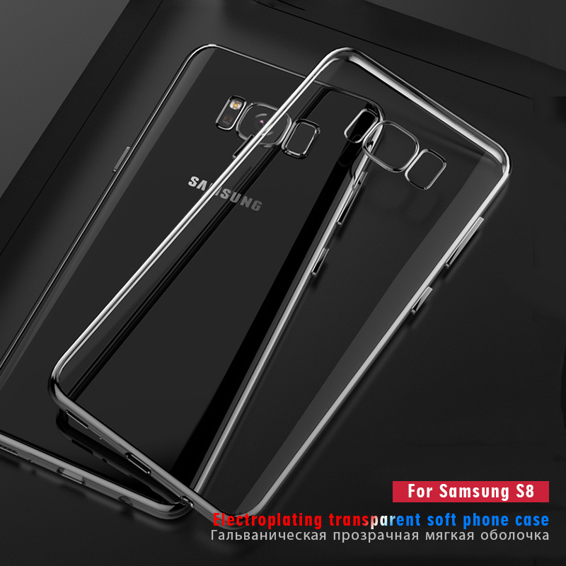 Plating Clear Soft TPU Samsung Galaxy S8 Plus S7 S6 Edge Note 8 Silicon Back Cover For Samusng Galaxy S8 S7 Edge