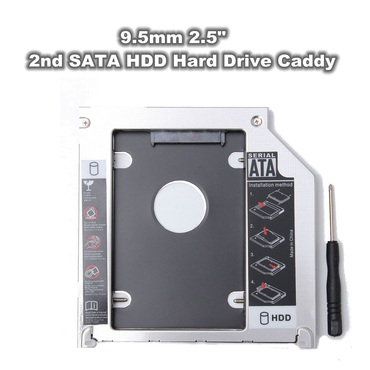 2ND 9.5mm 2.5 Inch SATA HDD SSD Frame Hard Drive Caddy Bay For MacBook Pro 13