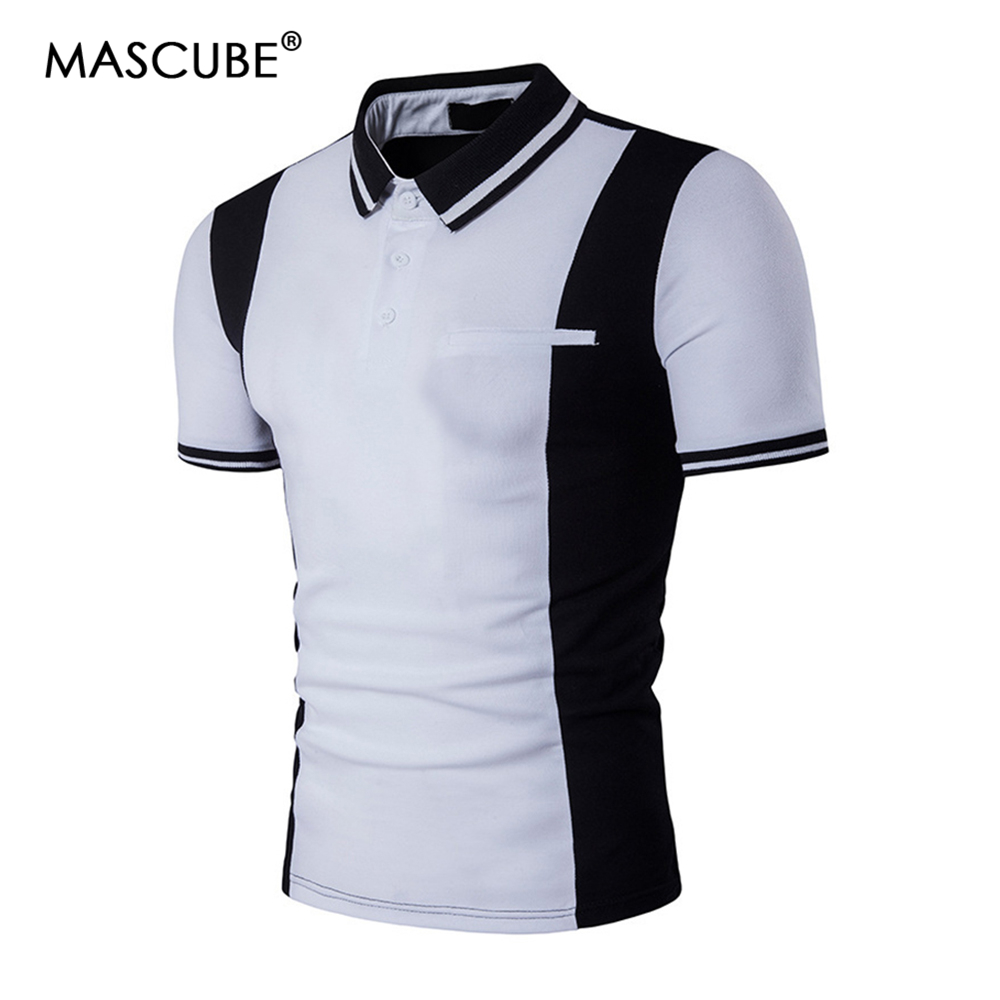 MASCUBE Striped   Polo   Shirt Men Brand New Summer   Polo   Shirt Hommes Slim Fit Short Sleeve Men   Polo   Shirt Casual Black White Camisa