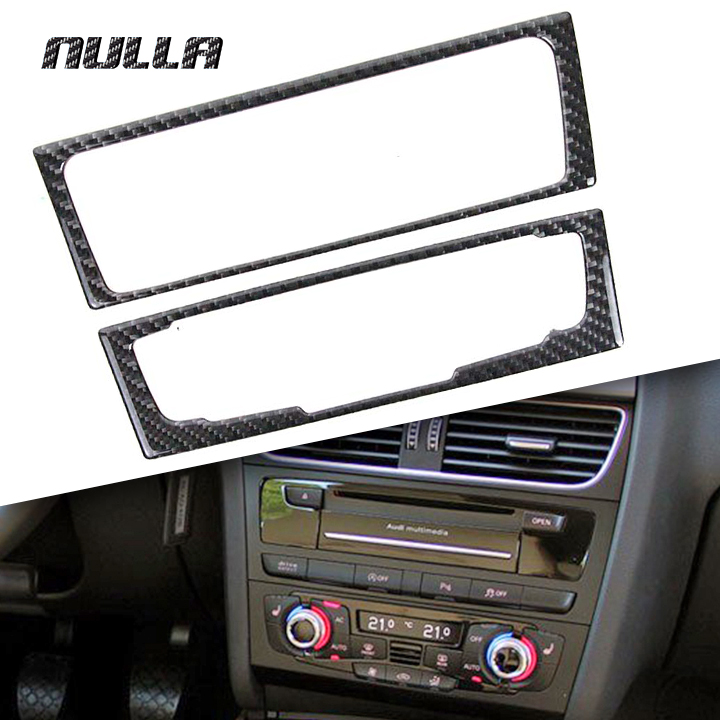NULLA Carbon Fiber Car Interior Center Console Audio CD Panel Multimedia Switch Buttons Cover Frame Decoration for AUDI A4 B8 A5