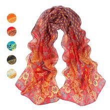 Femmes Paon motif écharpe fille foulard Paon Doux En Mousseline de Soie  Châle Wrap Wraps femme fleur impression Écharpe Foulards. 759c7bd2064