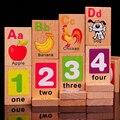 Бук буквенно-цифровой Домино двойной 3-4-5-6 лет дети просветлению игрушки раннее образование Монтессори головоломки деревянная игрушка