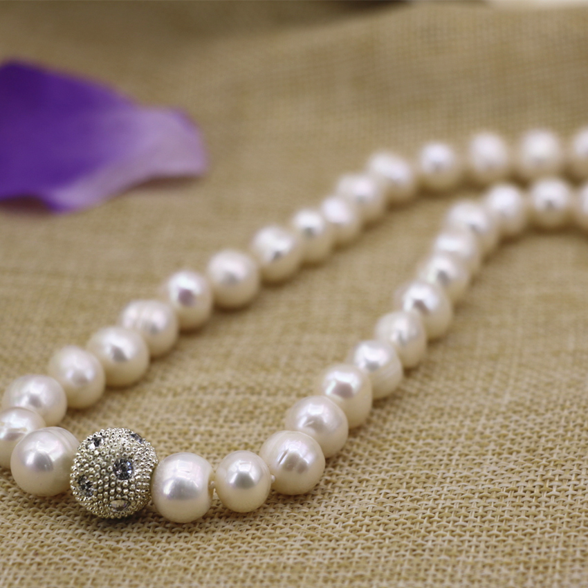 Hot sale natural white freshwater pearl thread nearround beads 10-11mm chain necklace for women elegant diy jewelry 18inch B3132