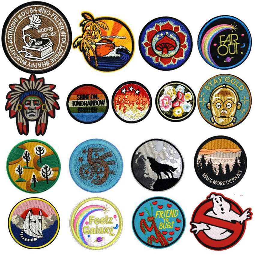 Nieuwe Bloem Ghost Indian Mountain Geborduurde Patches Ronde Stof Patches Kat Sticker Voor Kleding Decor Animal Wolf Applique