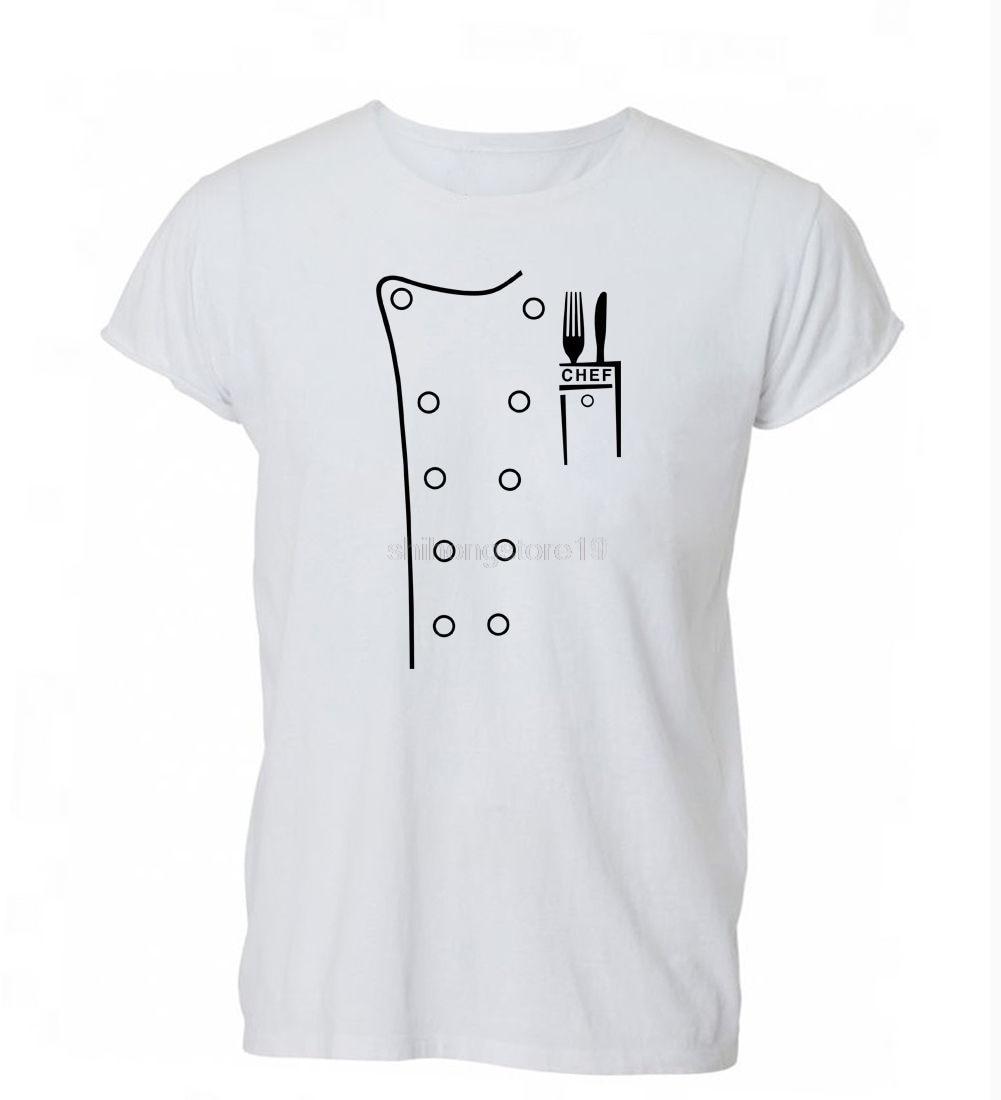 2019 Zomer Mode Mannen O-hals T-shirt Chef Outfit Grappige Parodie Schort Kok Joke Kostuum T-shirt T-shirt Heren Heren Gift