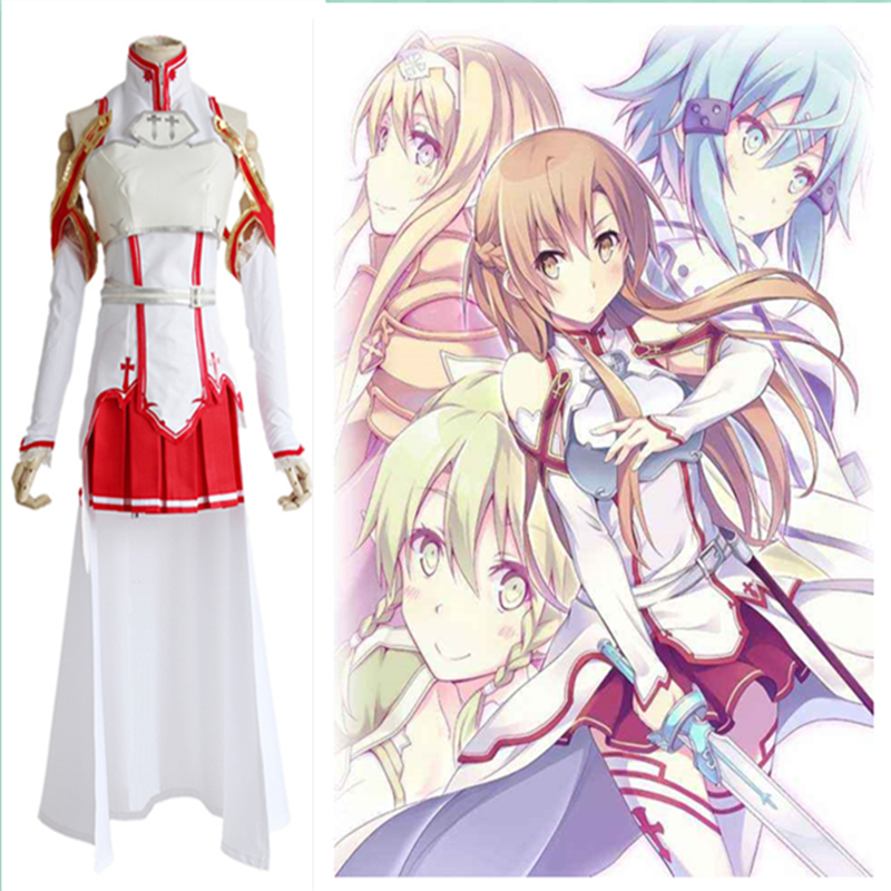 sword art online Yuuki Asuna Costume Yuuki Asuna Combat suit Cosplay Halloween Anime Game Costume Women Uniforms Dress suit