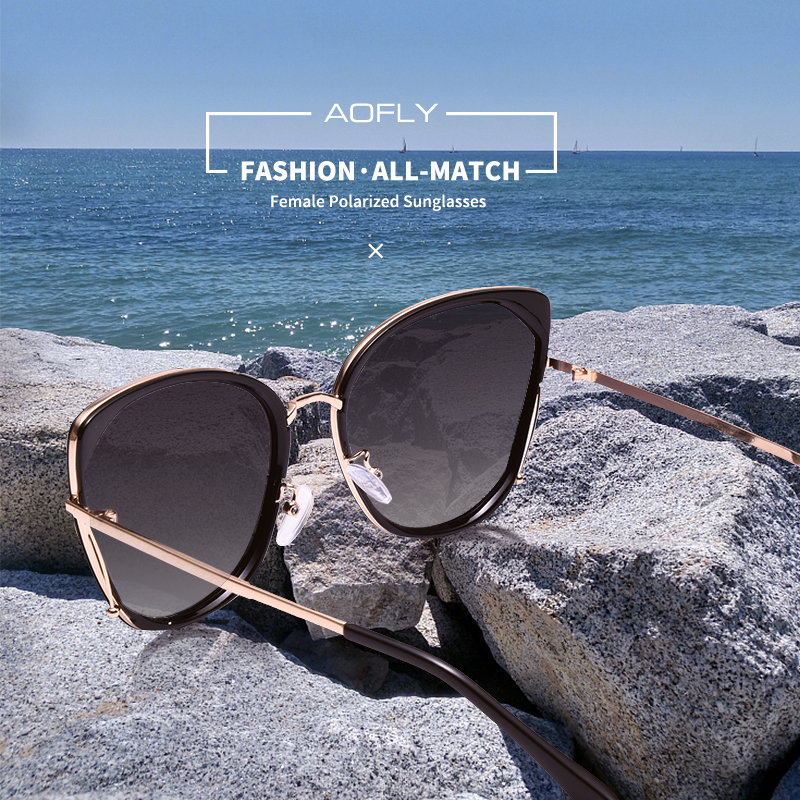 Image 2 - AOFLY BRAND DESIGN Fashion Ladies Cat Eye Sunglasses Women Polarized Sunglasses Female Unique Frame Gradient Lens UV400 A155-in Women's Sunglasses from Apparel Accessories on AliExpress