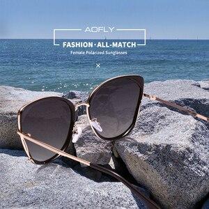 Image 2 - AOFLY 브랜드 디자인 패션 숙녀 고양이 눈 선글라스 여성 편광 선글라스 여성 고유 프레임 그라디언트 렌즈 UV400 A155