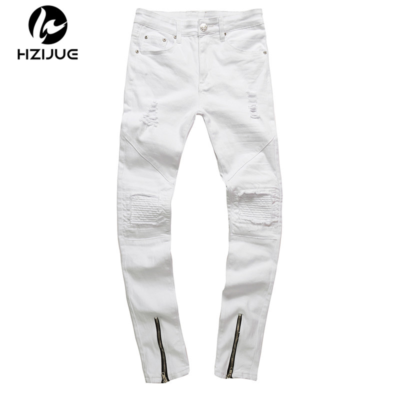 HZIJUE men zipper designer white jeans men pantalones vaqueros hombre casual mens jean HIP HOP skinny motorcycle denim pants men hip hop jeans pants fashion skateboard baggy denim jeans casual man white biker vaqueros hombre masculina pantalones