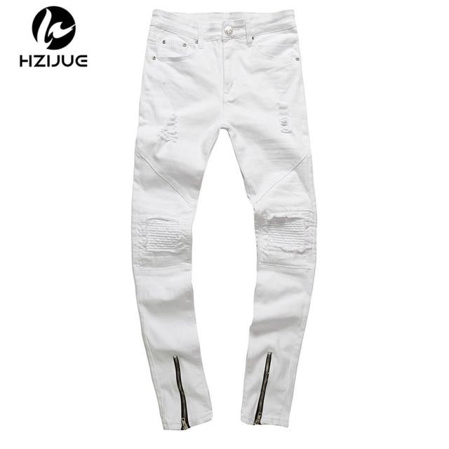3d6949031bd7e HZIJUE men zipper designer white jeans men pantalones vaqueros hombre  casual mens jean HIP HOP skinny motorcycle denim pants