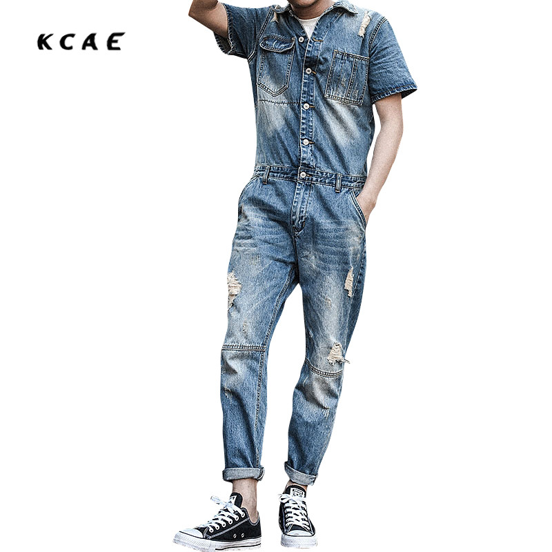 2017 New Fashion Set Casual Men Short Sleeves Denim Overalls Jumpsuit Nine Pants Hole Jeans Blue Overalls Vintage Singer Costume denim overalls male suspenders front pockets men s ripped jeans casual hole blue bib jeans boyfriend jeans jumpsuit or04