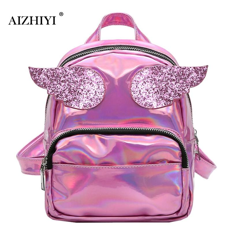 Fashion Women Hologram Laser Backpack Super Wings School Bags for Girls Teenage Cute PU Leather Shoulder Backpack Angel Ladies цена