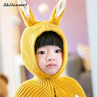 Long Ears Rabbit Kids Winter Hat with Scarf/Shawl Warm Knitted Baby Bonnet Cap Skullies Beanies for Girls Photo Props 4 Colors
