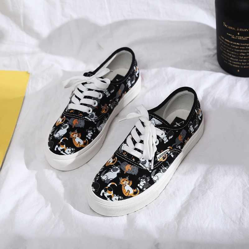 Zapatos casuales de las mujeres salvajes patrón de las mujeres verano 2019 tendencia moda salvaje zapatos casuales ulzzang Yamamoto viento zapatos de lona