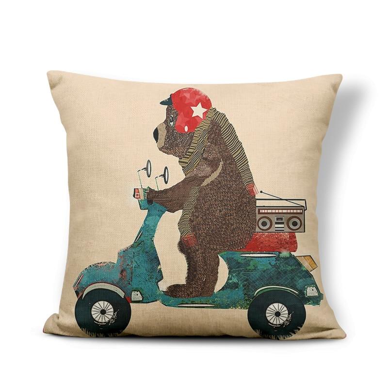 Cartoon Animal Throw Pillowcases Battery Bicycle Sloth Bear Bird Cushion Cover Forest Mountain Flowers Decoration Children Room