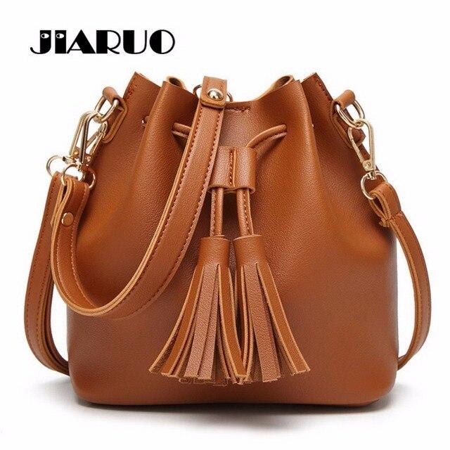 JIARUO Vintage Fashion Small Women Leather Bucket Bag Handbag Tassel Drawstring Shoulder Bag Messenger Crossbody Bags Purses
