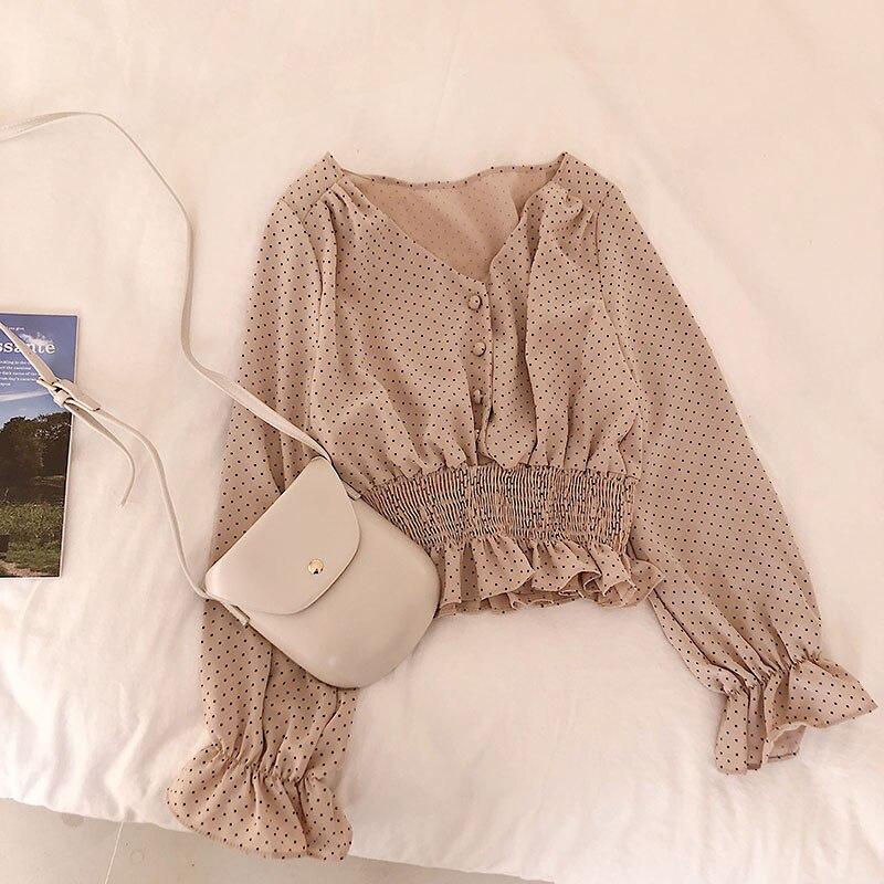 Vintage V-neck Flare Sleeve Polka Dot Women Blouse Shirts Elegant Front Buttons Slim Waist Ruffles Female Blouse blusas 2020
