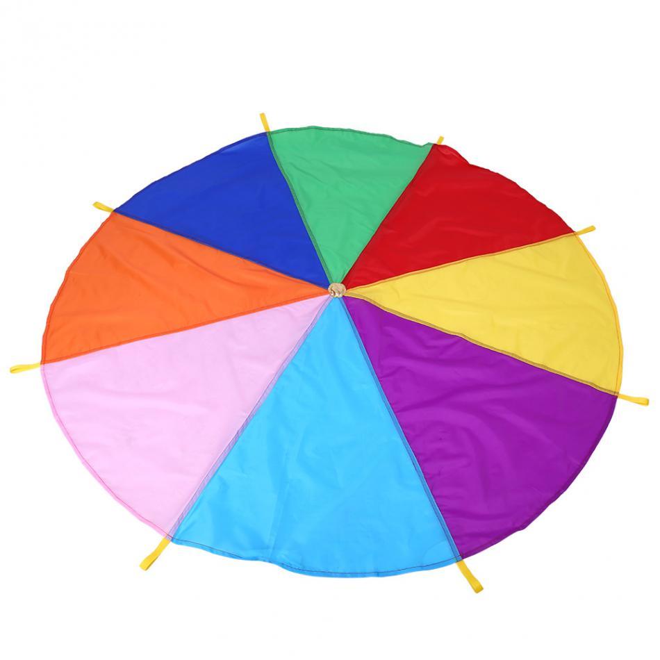 8 Handles 2m Kids Children Sports Development Play Rainbow Umbrella Parachute Toys Outdoor Teamwork Game OXford Parachute Toy