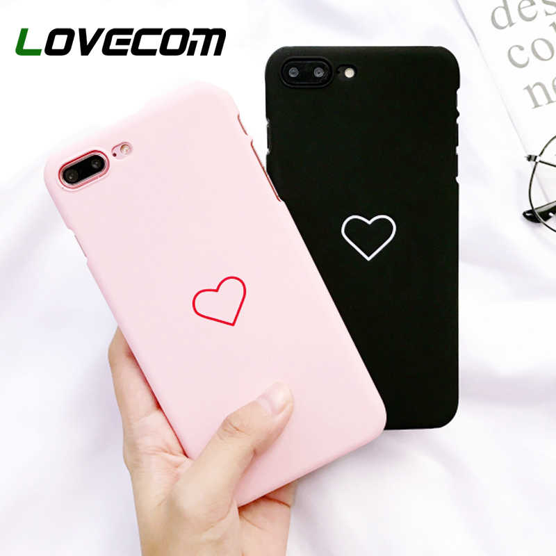 LOVECOM Love Heart Painted Graphic Case For iPhone XS XR XS Max X 5 5S 6 6S 7 8 Plus Couples Back Cover Ultra Thin Matte Hard PC