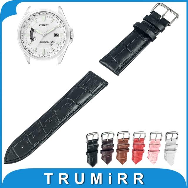 14mm 16mm 18mm 20mm 22mm 24mm Correa de Reloj de Cuero Genuino para citizen correa correa de pulsera pulsera de la correa negro marrón rojo blanco