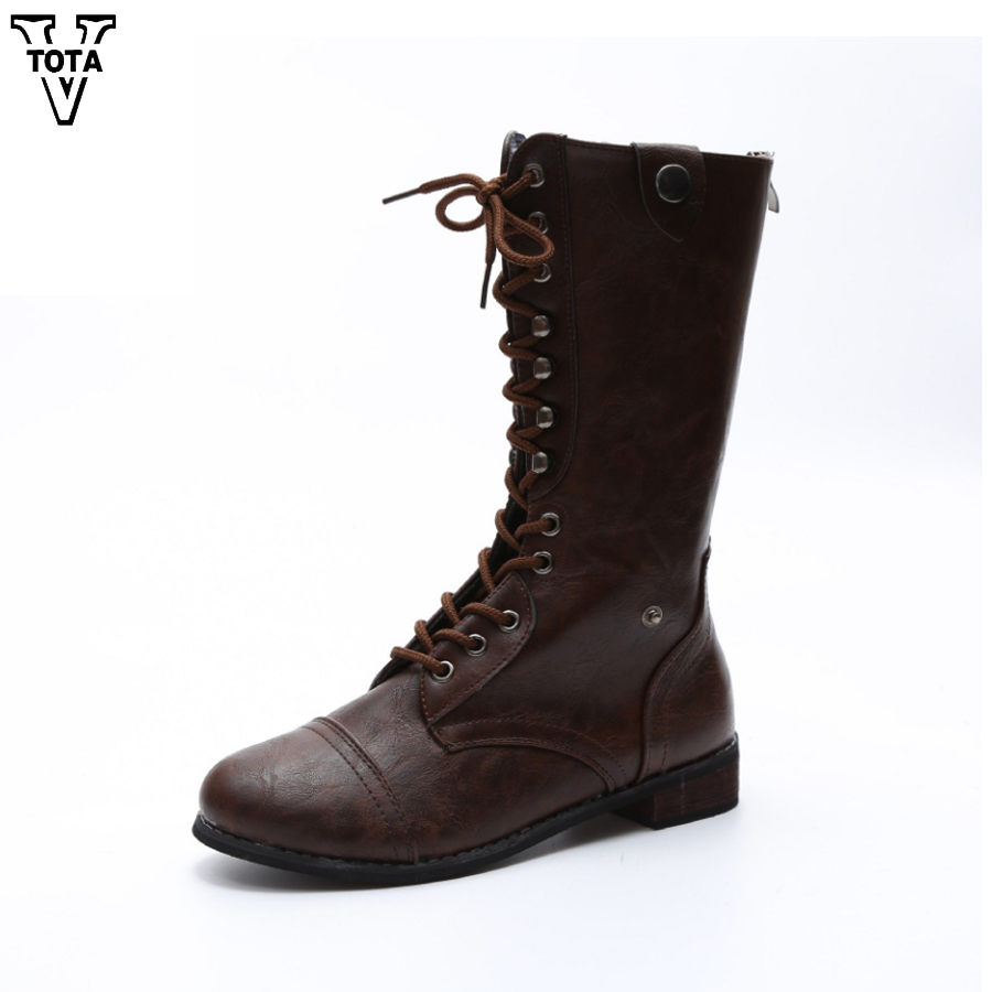 VTOTA Lace Up Sexy Knight boots Women Shoes Lace-Up Winter Boots Square Low Heels Lace Up Martin Military Biker Motorcycle Boots sexy women s slimming printed lace up corset